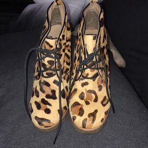 Shoemint calf hair leopard lace up wedges, size 7